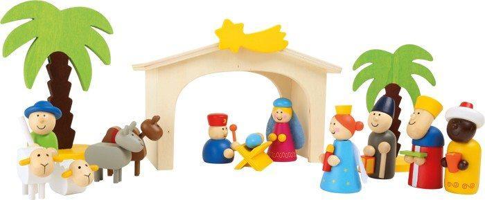 Set da gioco Presepe colorato in legno per bambini