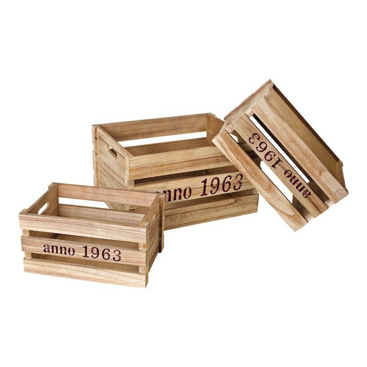 Cassette di legno Natura con scritte ai lati set 3 pezzi Legler 1498