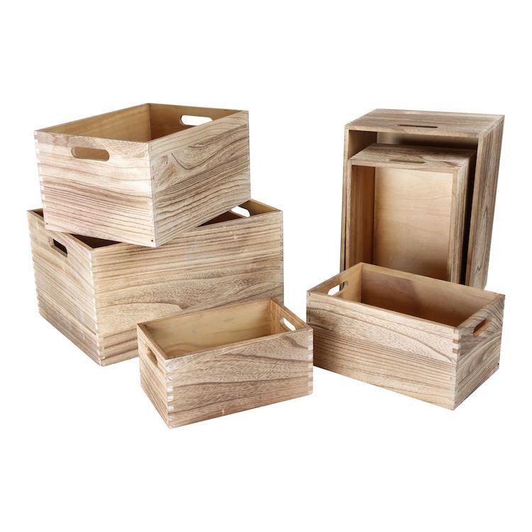 Cassette in legno Natura set 6 pezzi Legler 10048