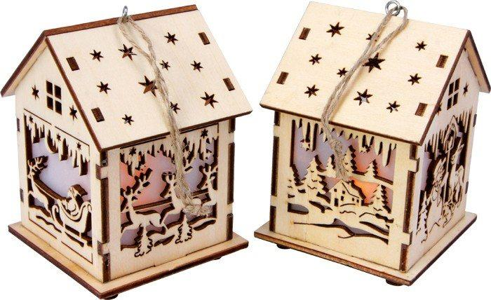 Lanterna in legno Casa tedesca classica Decorazione per Natale