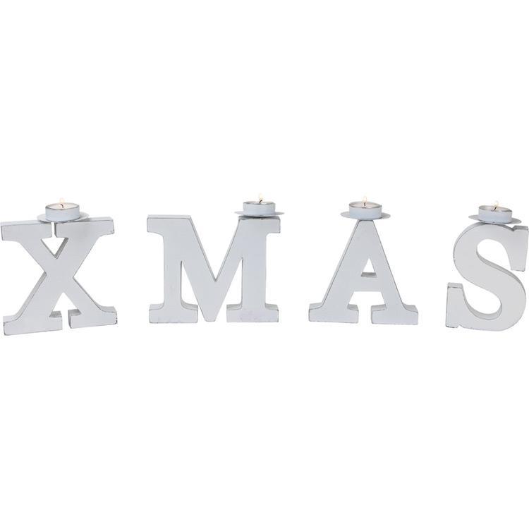 Porta candele con scritta Xmas Natale Decorazione natalizia