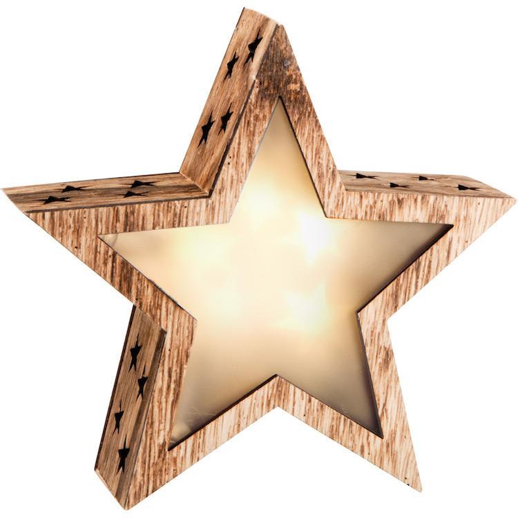 Lanterna Stella luminosa in legno piccola Decorazione natalizia
