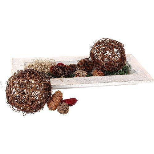 Piatto in legno decorativo con pigne abete e noci  Natale