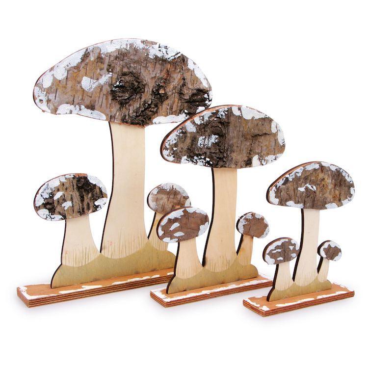 Funghi da decorazione in legno Set da 3 Legler 6580