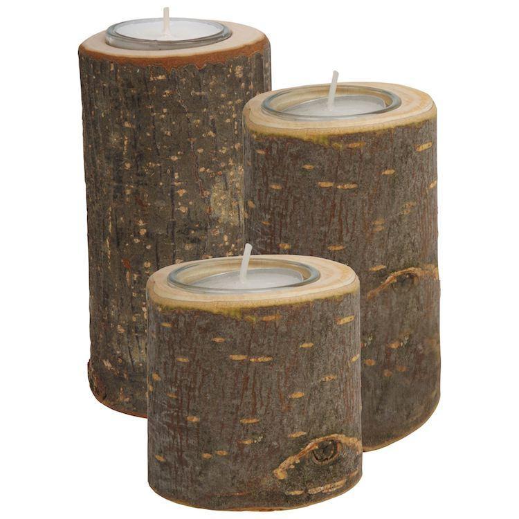 Porta lumini in legno varie dimensioni set da 3