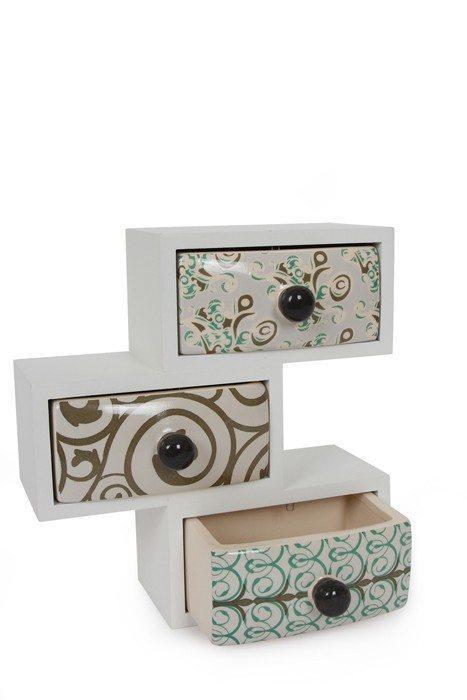Armadietto in legno con cassetti di ceramica