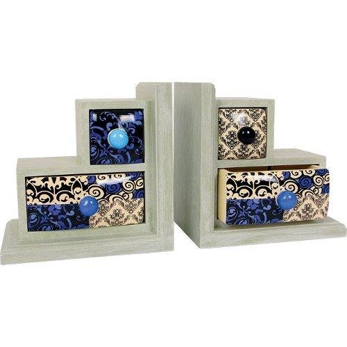 Reggilibri decorativi in legno con cassetti in ceramica Set da 2