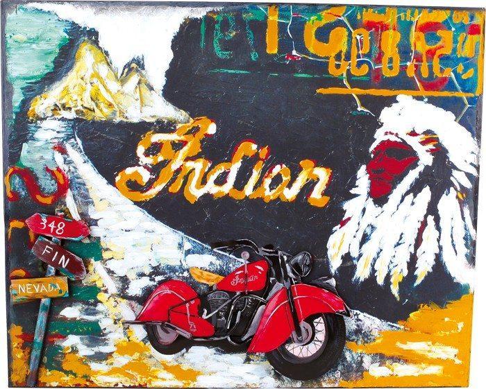 Quadro latta Moto e Indiano stile nostalgico Arredo casa o ufficio