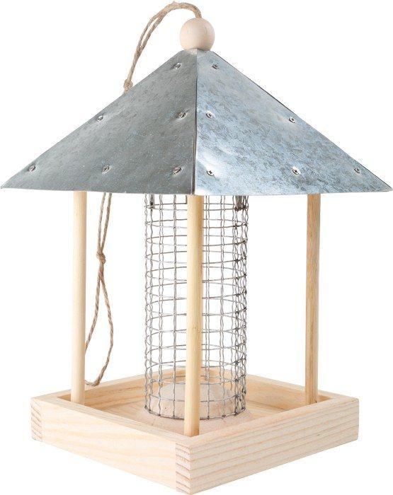Casetta per gli uccellini in legno con tetto in metallo