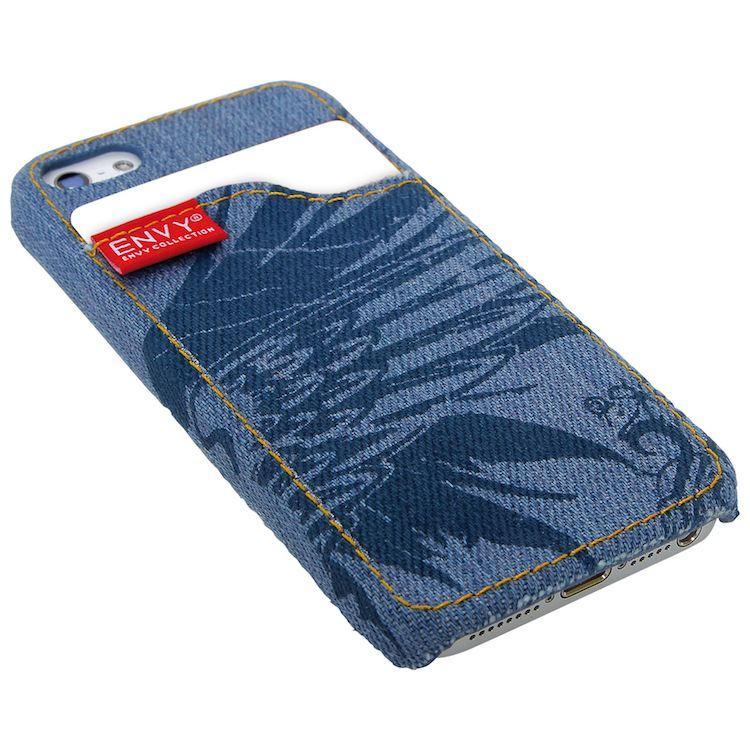 Custodia Astuccio Cover per iPhone 5 in tessuto jeans colore blu e azzurro