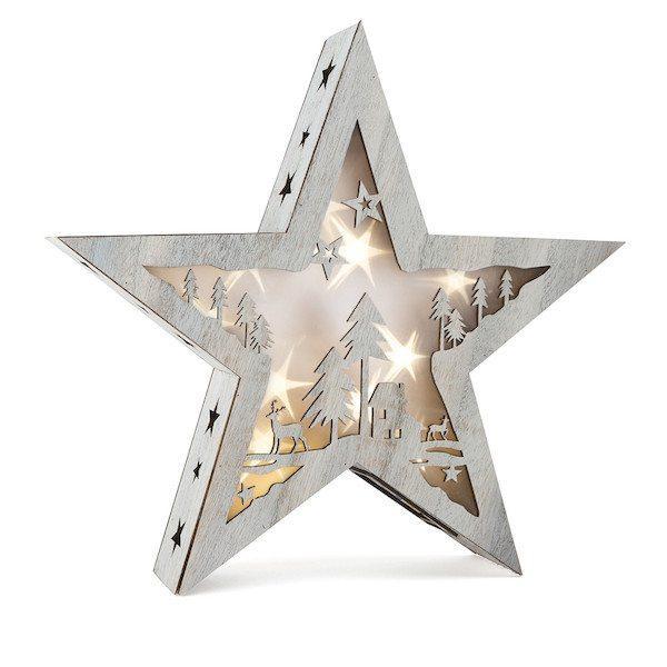 Lanterna Stella illuminata grande Shabby Chic Natale Legler 10203