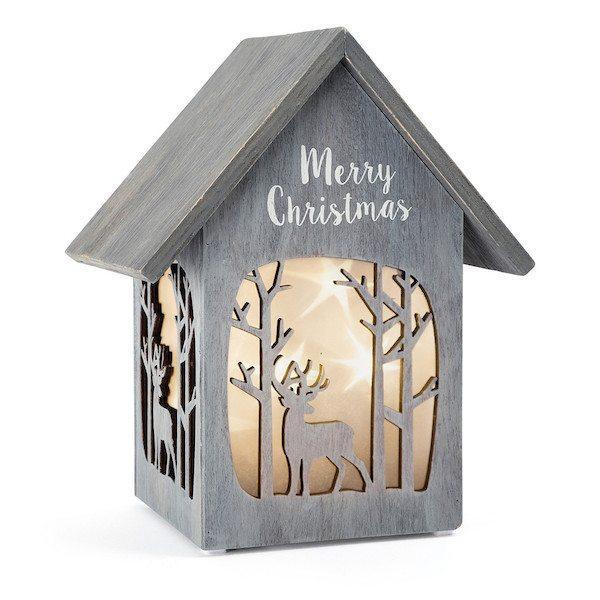 Casa illuminata in legno Merry Christmase Shabby Chic Legler 10207