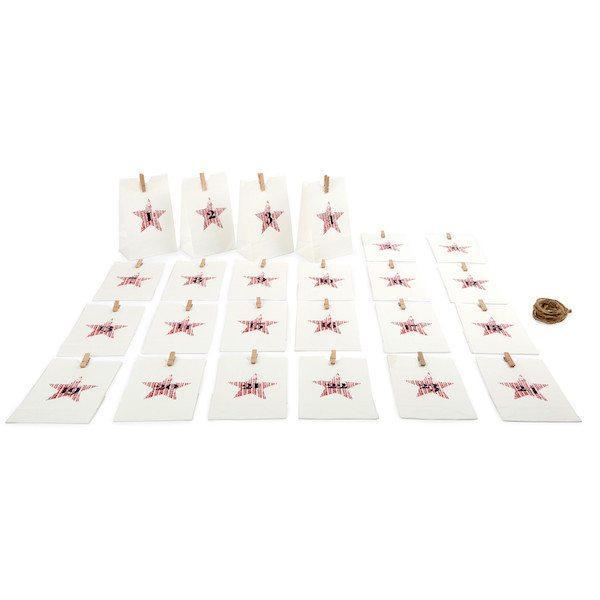 Calendario dell'Avvento Sacchettini di carta bianco Natale Legler 10209