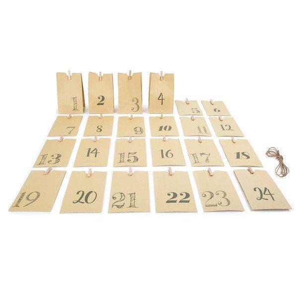 Calendario dell'Avvento Sacchettini di carta naturale Legler 10210