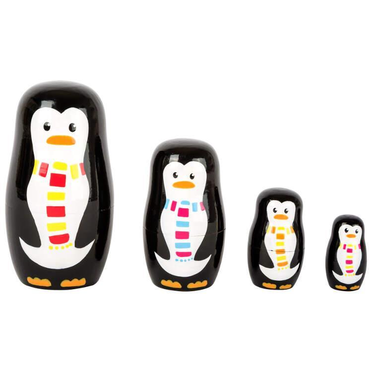 Matrioska in legno gioco per bambini Famiglia di pinguini