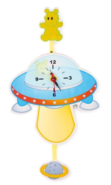 Orologio in legno da parete UFO arredo cameretta bambini