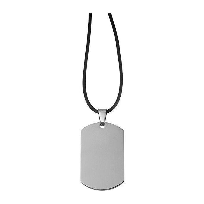 Collana con pendaglio in acciaio pregato con spazio per incisione personalizzata