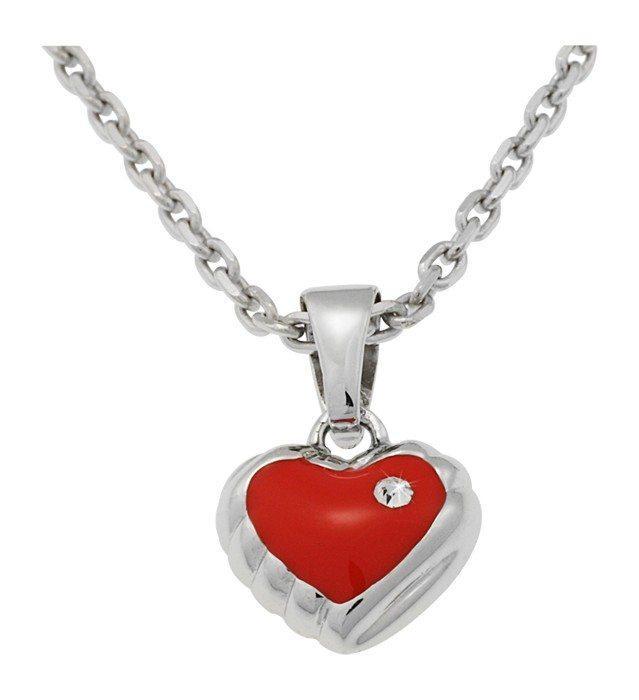 Collana per bambini in argento con pendaglio cuore rosso