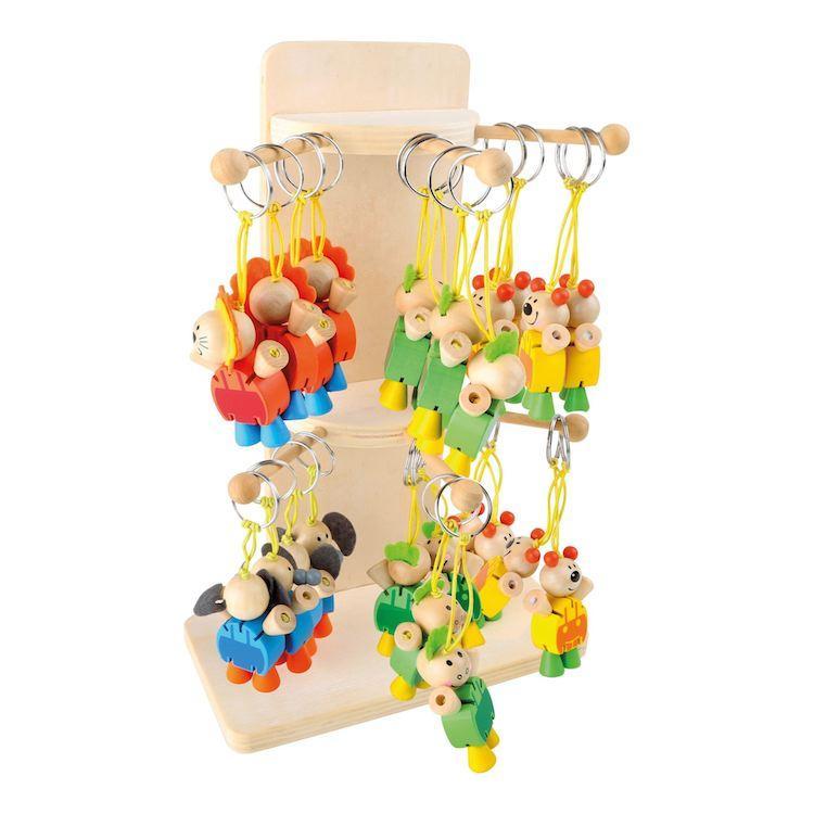 Espositore Display portachiavi in legno Animali per negozio Set da 24 pezzi