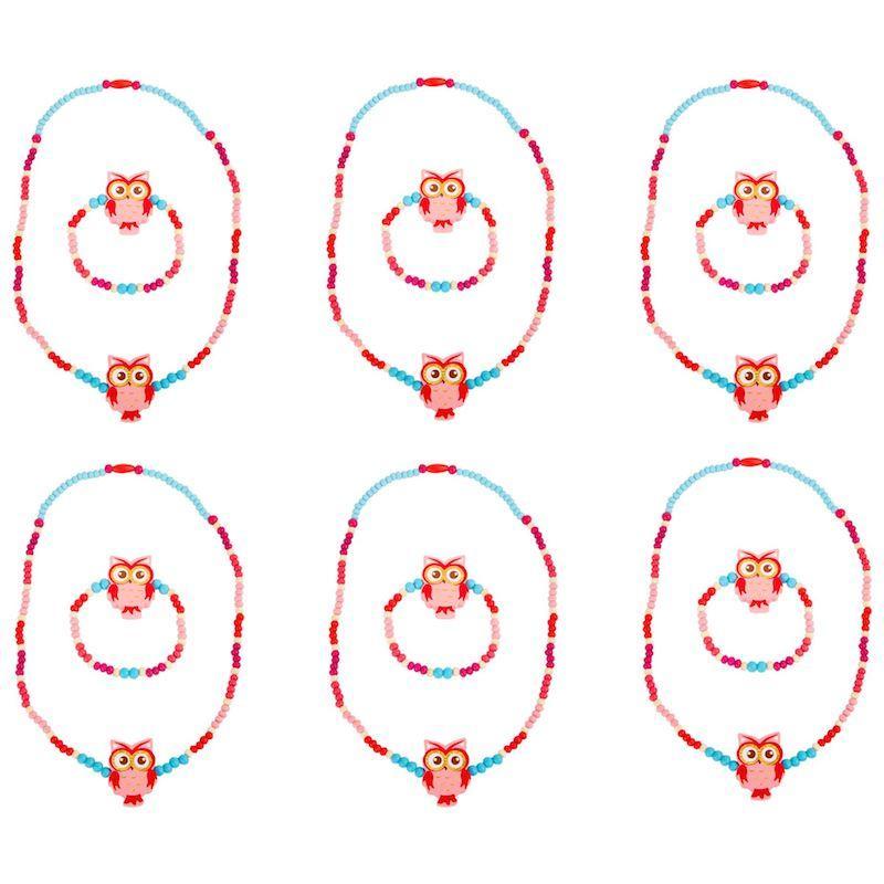 Collanina e braccialetto bambini civetta rosa 12 pezzi per espositori