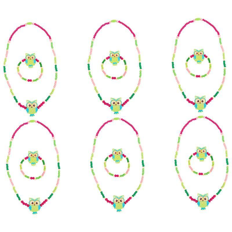 Collanina e braccialetto bambini civetta verde 12 pezzi per espositori