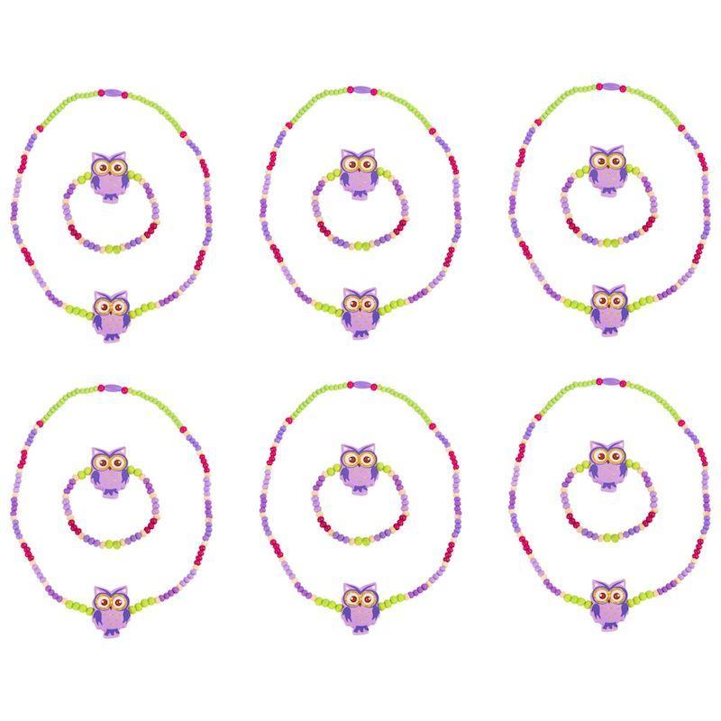Collanina e braccialetto bambini civetta viola 12 pezzi per espositori
