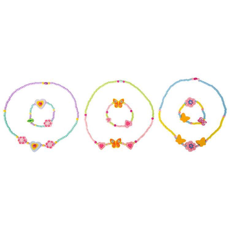 Set gioielli collana e bracciale con componenti in legno  per bambine Legler 10796