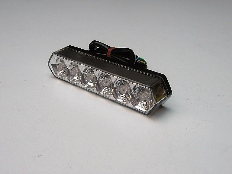 """FANALE POSTERIORE A LED """"CRYSTAL"""" CROMO per MOTO, SCOOTER, QUAD"""