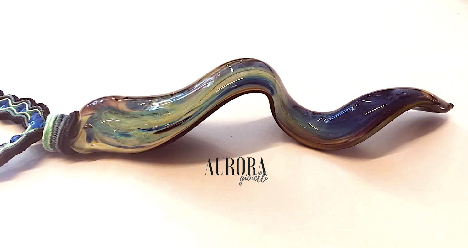 Collana Soutache Vetro di Murano e Svarowski Blu