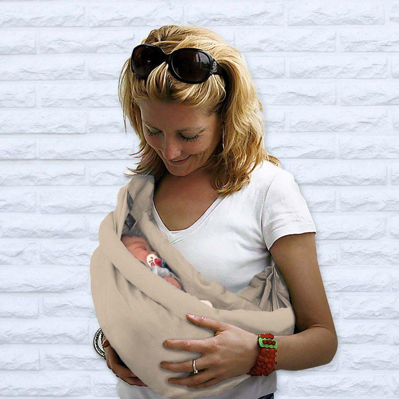 Minimonkey Fascia porta bebè 4 in 1 in 100% cotone - Sabbia