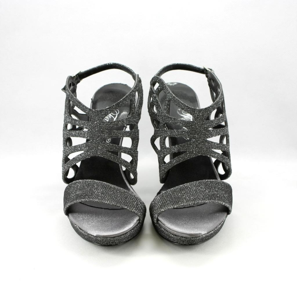Sandalo donna in tessuto glitter piombo con tacco sfilato e cinghietta regolabile alla caviglia.