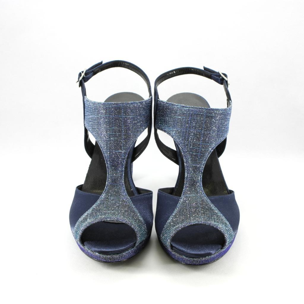Sandalo cerimonia donna elegante in morbido raso blu notte con inserti blu glitter e cinghietta regolabile.