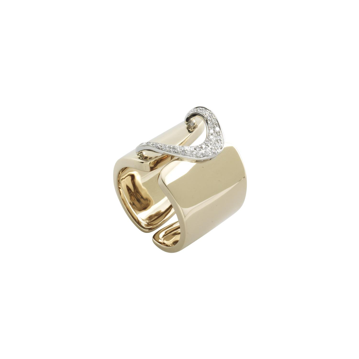 Anello band in oro 18k e diamanti h.18