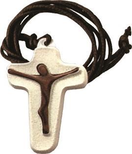 Croce stilizzata resina con cordoncino