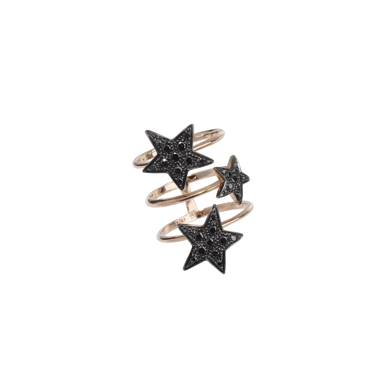 Anello Etoiles in oro rosa e diamanti neri