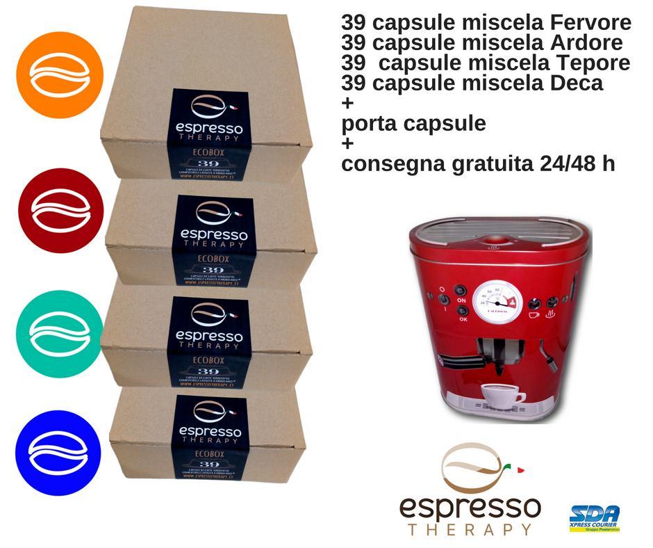156 capsule compatibili Lavazza A Modo Mio 4 miscele con contenitore porta capsule in omaggio