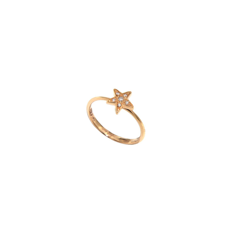 Anello stella in oro 18k e diamanti