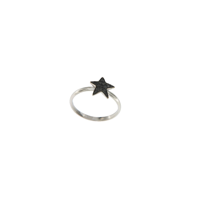 Anello mini in oro bianco e diamanti neri