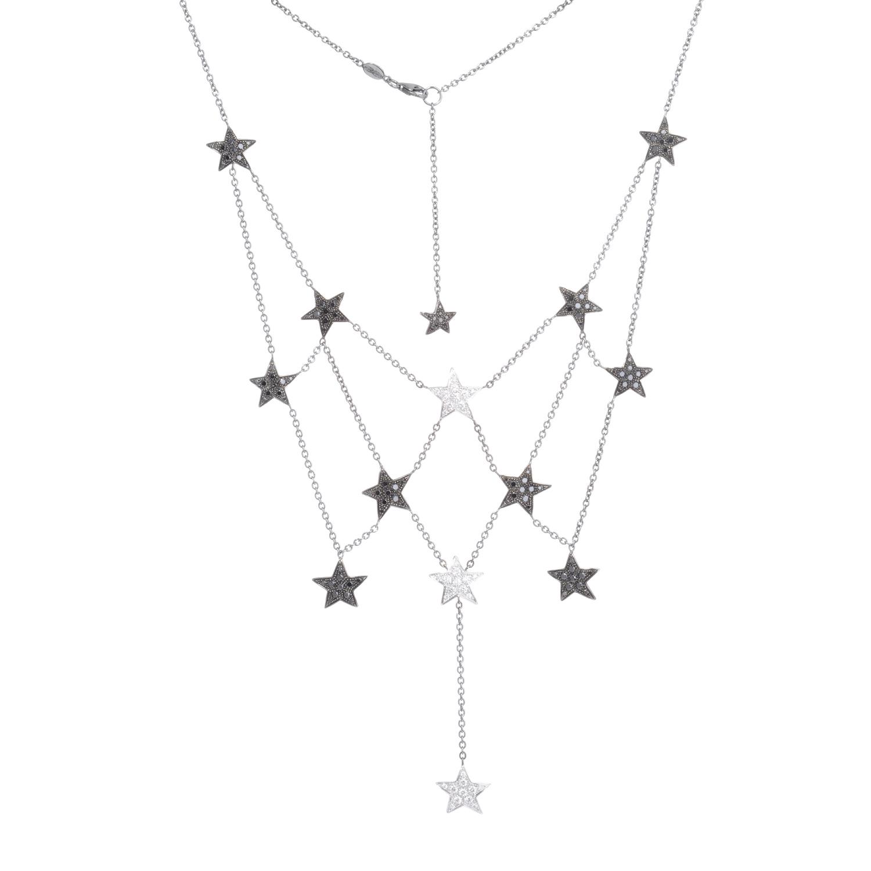 Girocollo in oro bianco, diamanti neri e bianchi