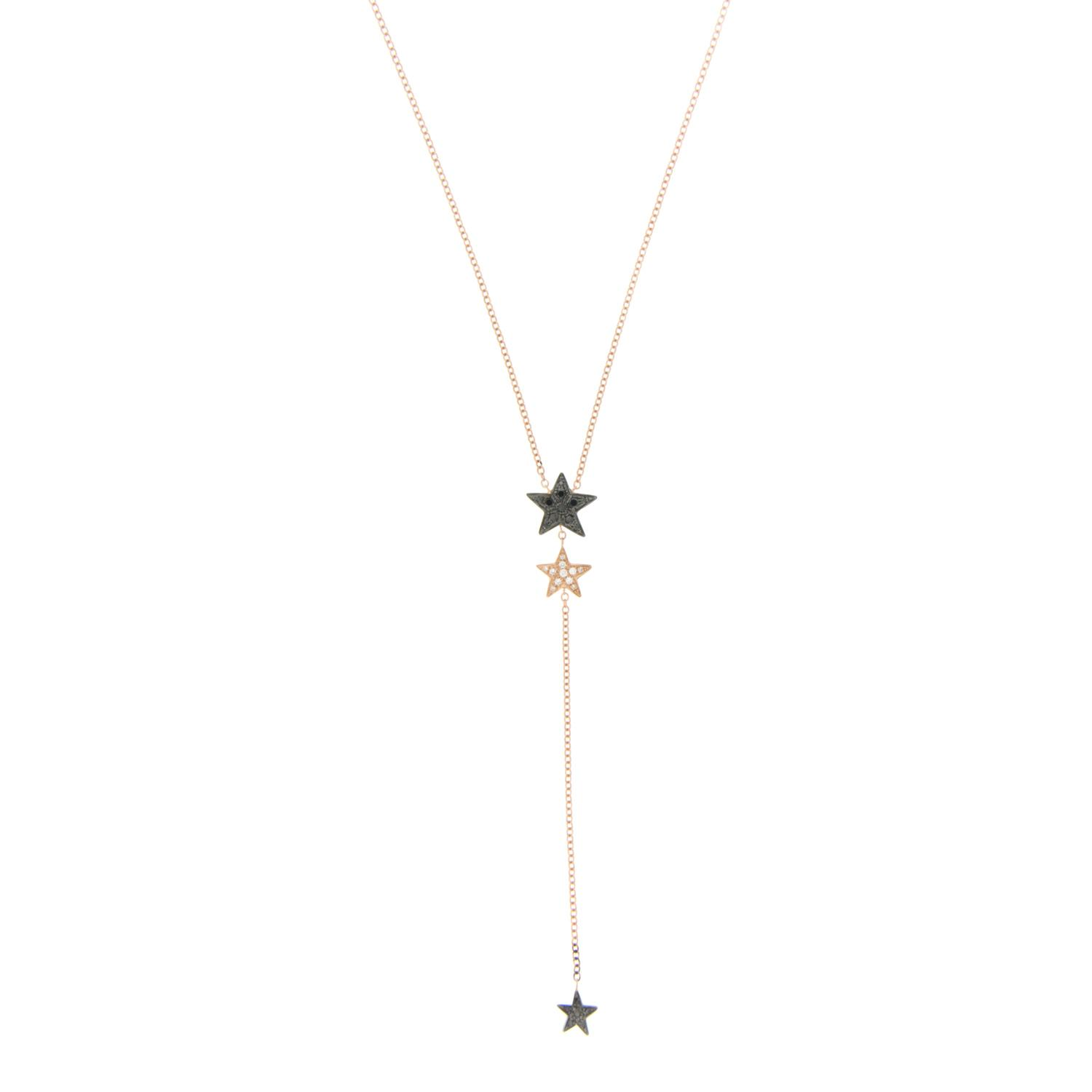 Y-shape necklace in rose gold and diamonds