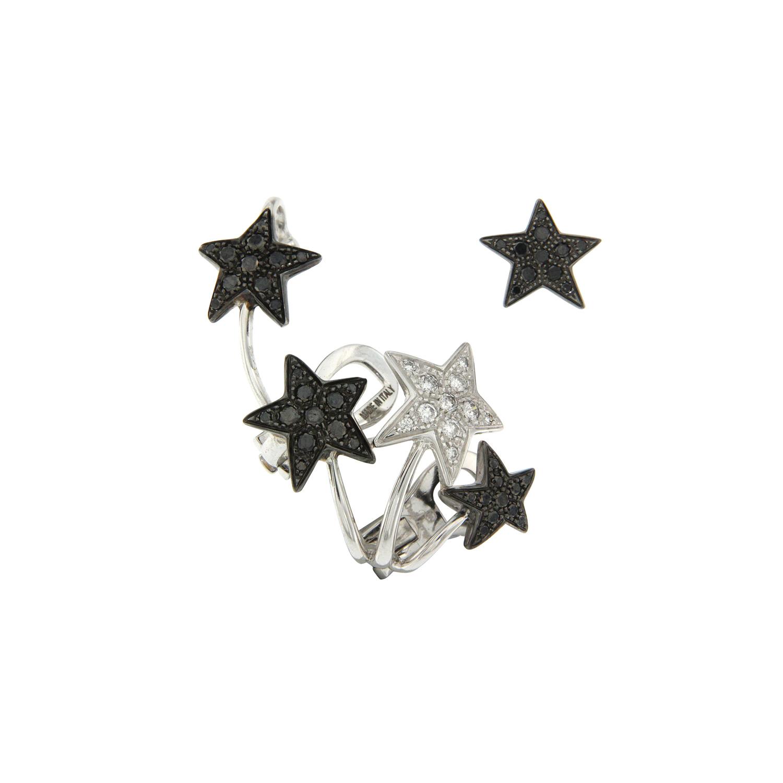 Mono orecchino in oro bianco, diamanti neri e bianchi