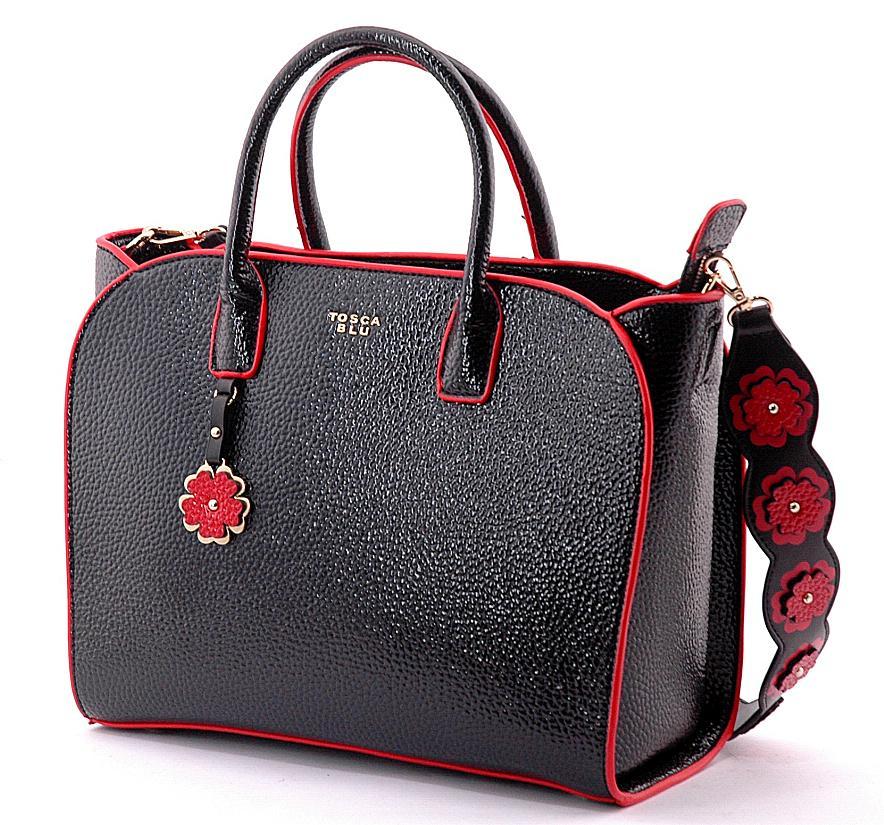 190d54aecb Borsa shopper Tosca Blu donna ecopelle lucida nera mod. Flower Power