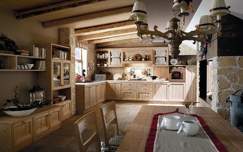Cucina in legno stile country
