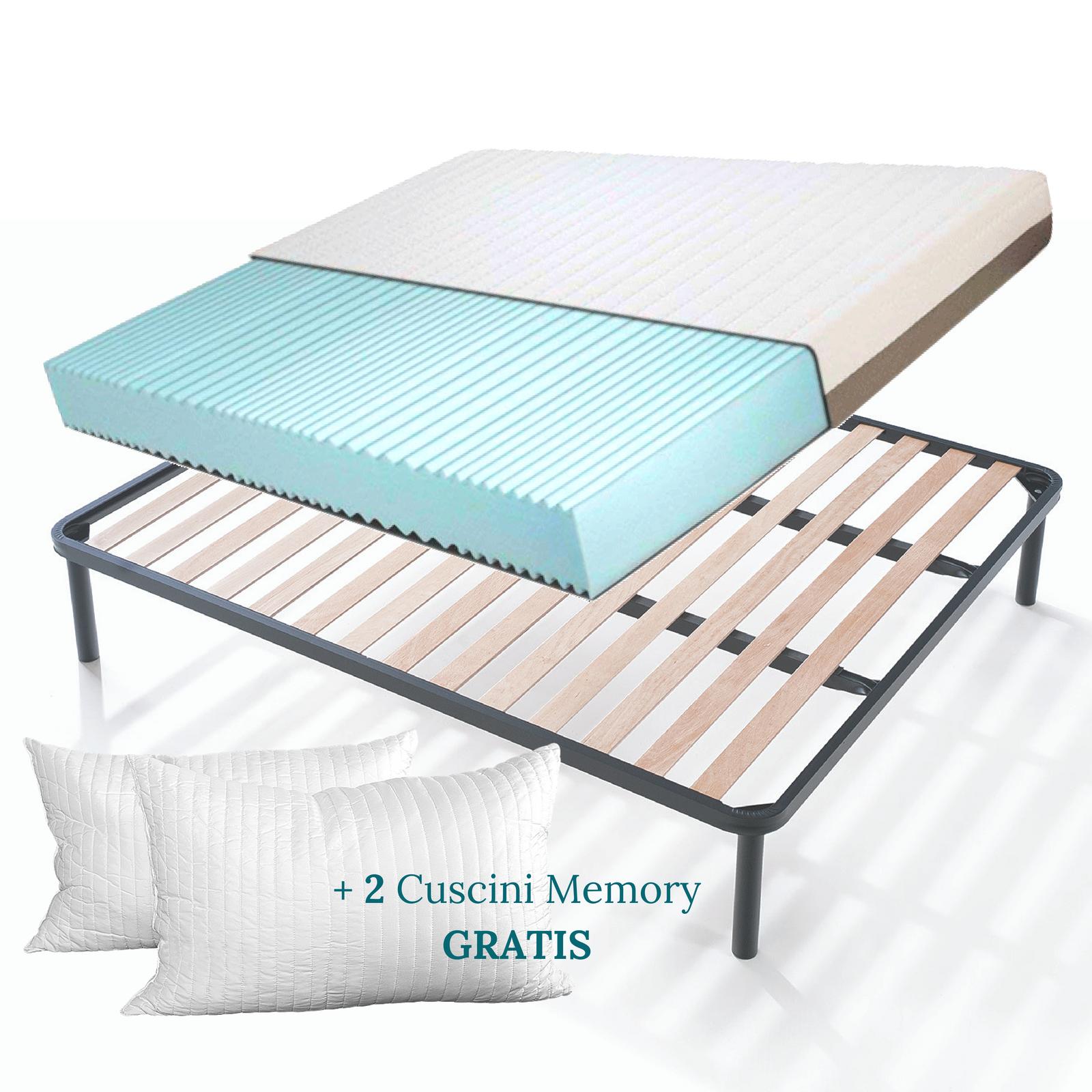 Kit rete e materasso memory foam alto 20 cm con cuscini for Divano letto con materasso alto 20 cm
