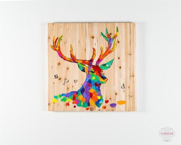 Quadro realizzato a mano Cervo su perline
