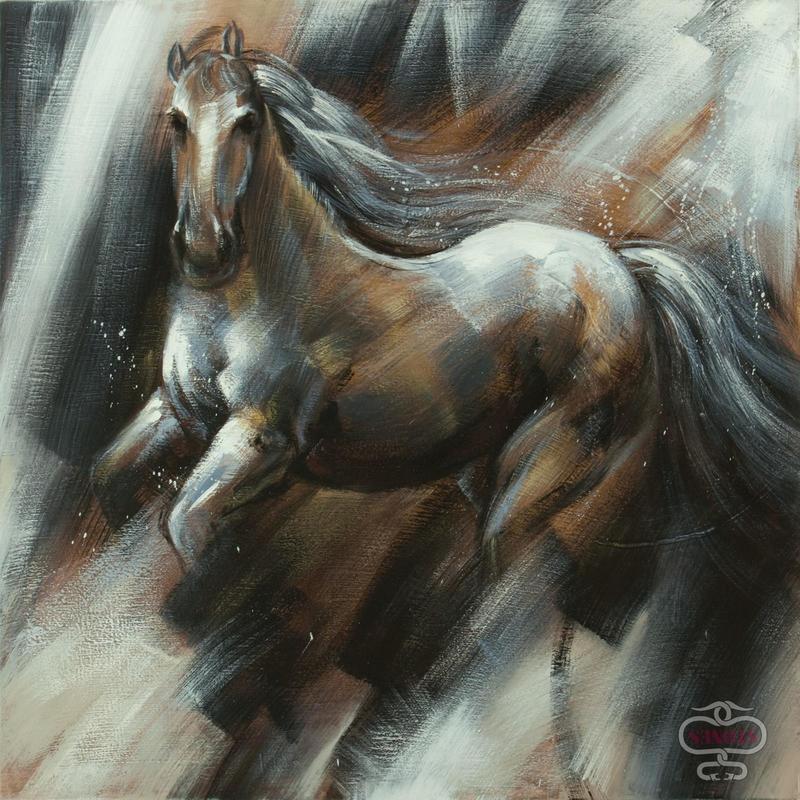 Dipinto a mano Cavallo in corsa