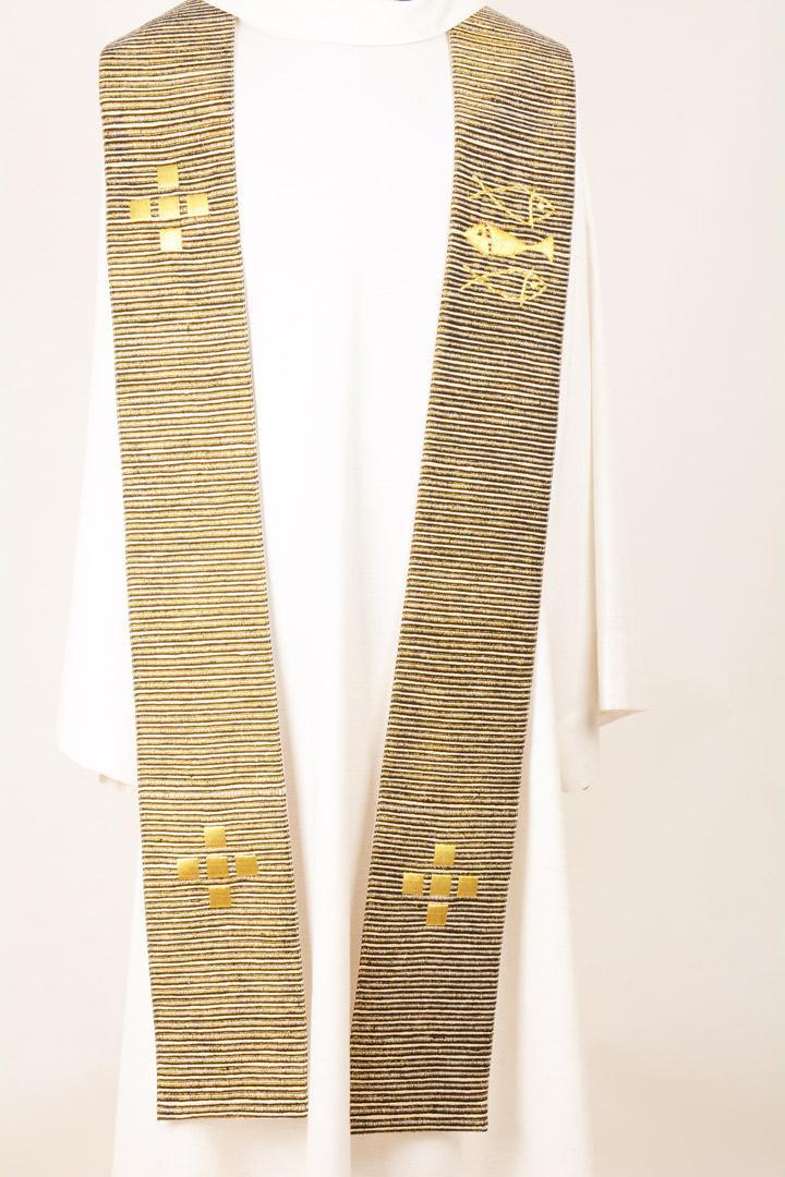 Stola S60 M1 Nero-oro - Seta greggia