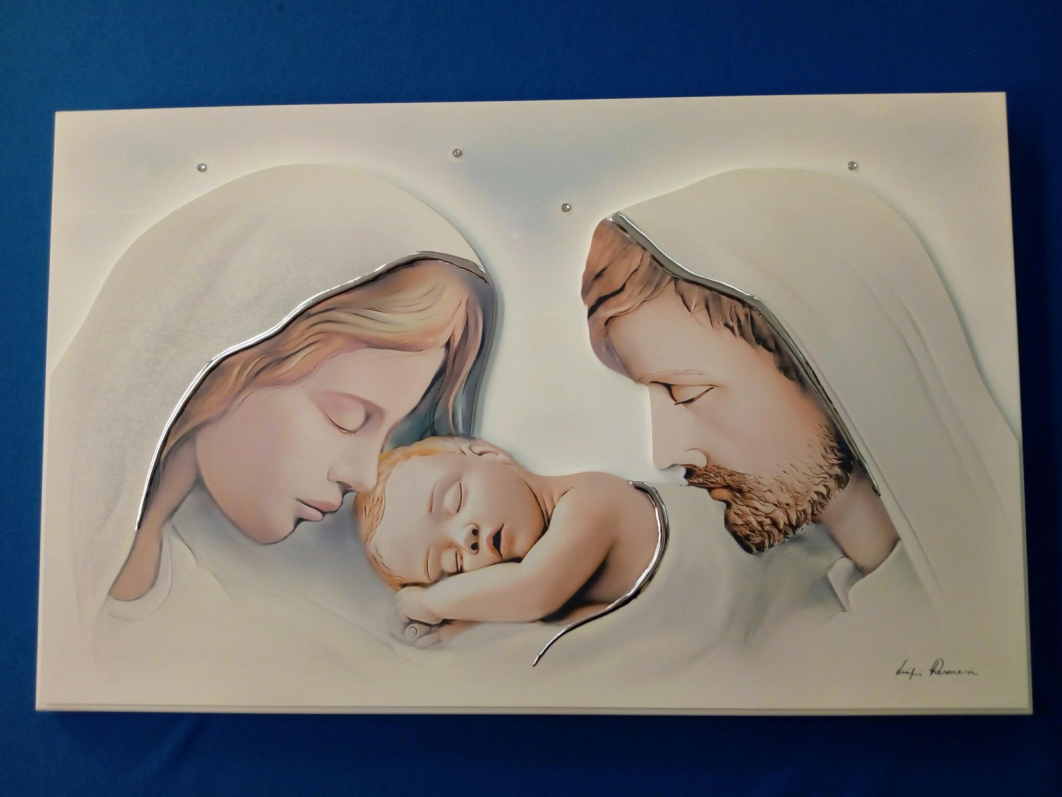 Quadro Capo letto Sacra Famiglia stile moderno artista Luigi Pesaresi (Estego) formato cm. 46 x 29