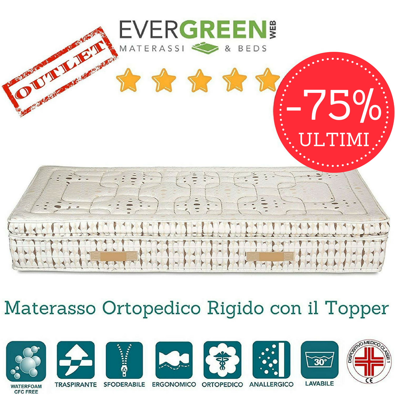 Materasso Singolo Ortopedico Rigido in Waterfoam HR con Topper alto 30 cm tessuto Sfoderabile 4 Lati Anallergico ULTIMI 5