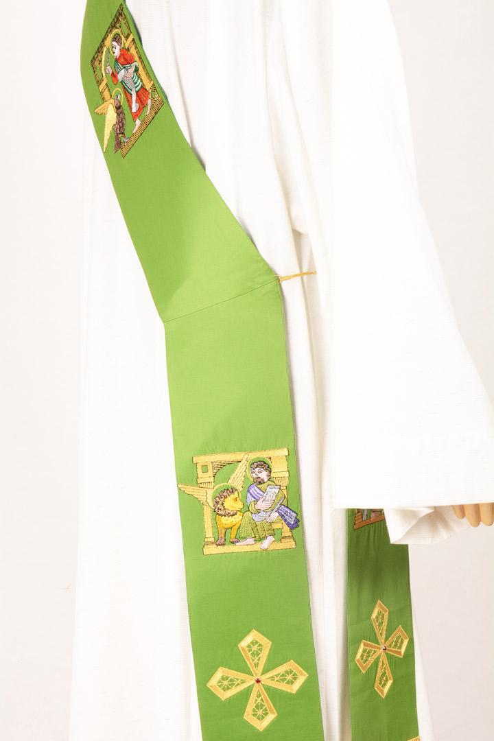 Stola Diaconale SD40 M0 Verde - Faille Misto Lana
